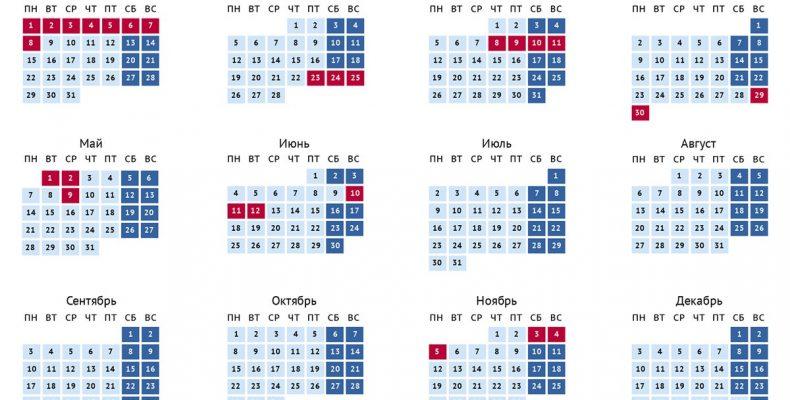 Календарь выходных и праздников на 2018 год